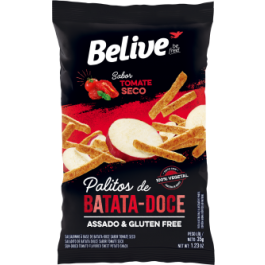 Palitos de Batata-Doce Tomate Seco Belive - 35gr
