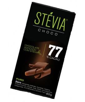 Chocolate Stévia 77% Cacau Genevy - 80gr